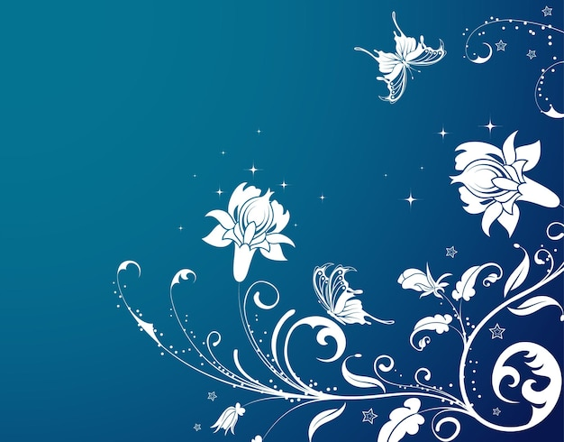 Flower background with butterfly, element for design, vector illustration
