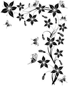 나비, 디자인, 벡터 일러스트 레이 션에 대 한 요소와 꽃 배경