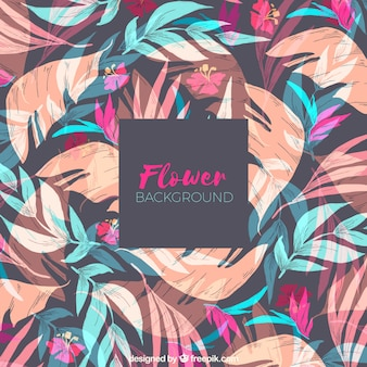 Flower background with leaves in hand drawn style