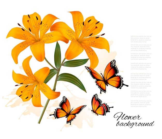 3つの美しいユリと蝶と花の背景。ベクター。