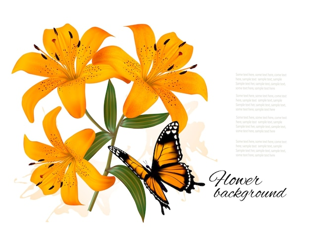 Цветочный фон с тремя красивыми лилиями и бабочкой. вектор.