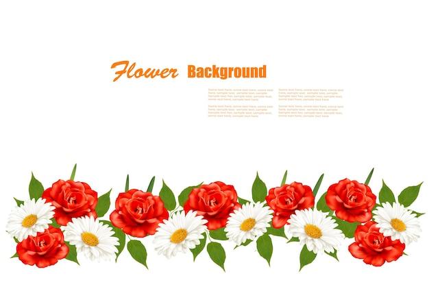 Цветочный фон с белой маргариткой и красными розами. векторная иллюстрация