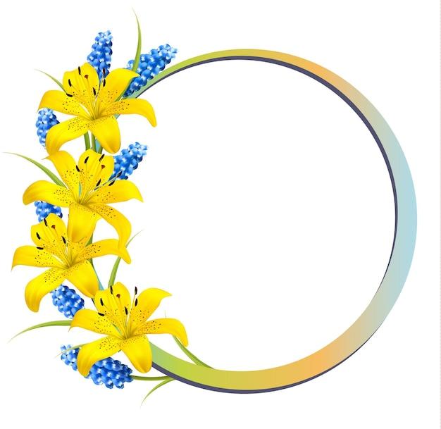 노란 백합과 라벤더 꽃 배경입니다.
