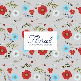 Flower backrounds  red, light blue, white flowers seamless pattern