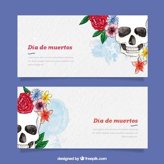 フラワーバナーとメキシコの水彩の頭蓋骨