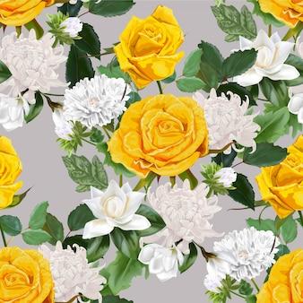 黄色いバラ、菊、マグノリアのイラストと美しい花束を花します。