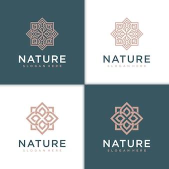 サロンスパスキンケアと美容製品のための花の美容ロゴデザインのインスピレーション