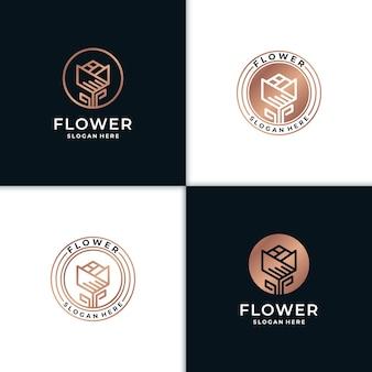 Цветок красоты дизайн логотипа вдохновение для салона спа уход за кожей и косметический продукт