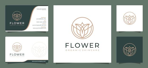 サロンスパのスキンケアと製品の美しさのためのフラワービューティーロゴデザインのインスピレーション