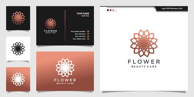 Flower beauty logo design linear style and business card.