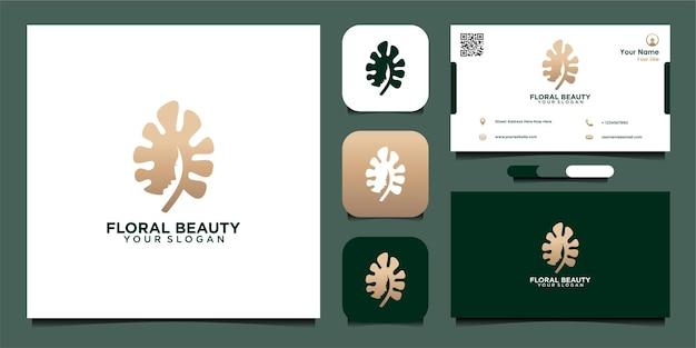 Цветочный дизайн логотипа красоты с женщиной и визитной карточкой