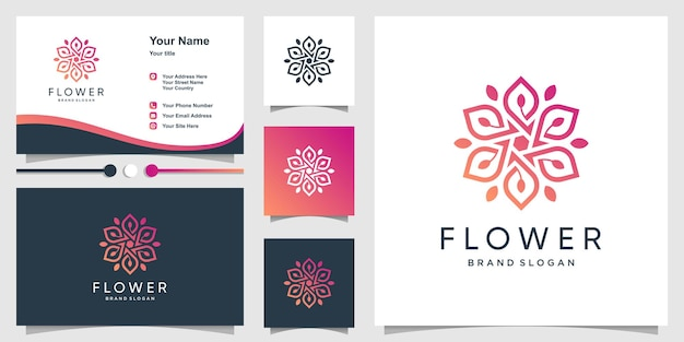 Flower beauty logo template and business card