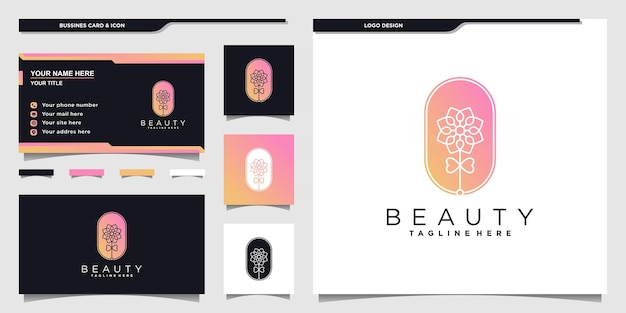 ユニークなネガティブスペースのコンセプトと名刺デザインプレミアムベクトルと花の美しさのロゴ