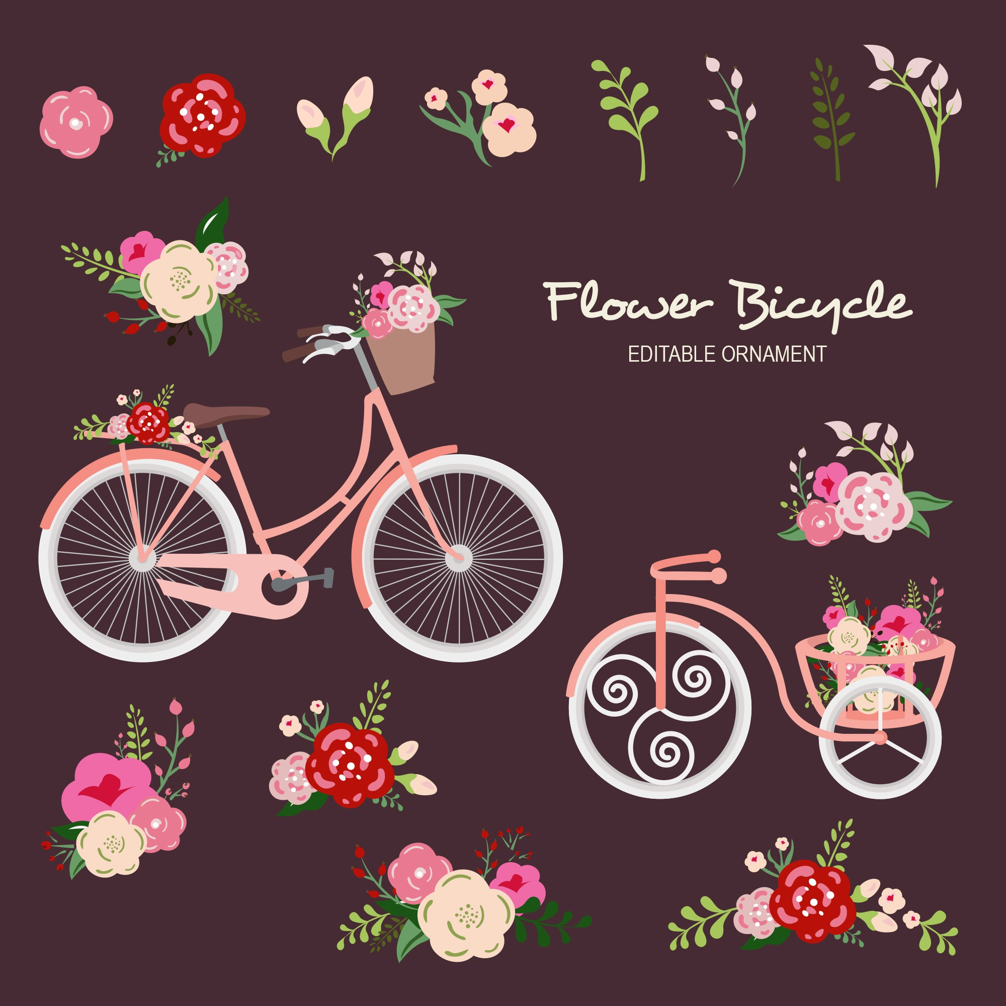 Flower Bicycle Editable Ornament