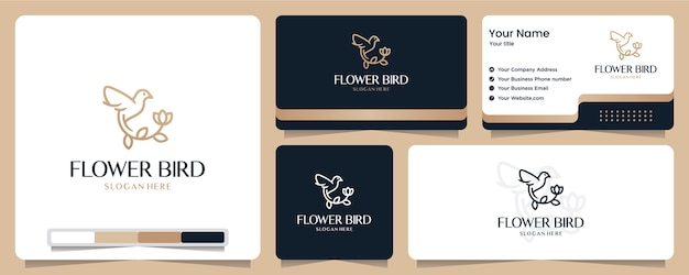 Flower bird, flower,gold color, banner, business card and logo design