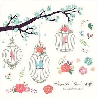 Flower birdcage