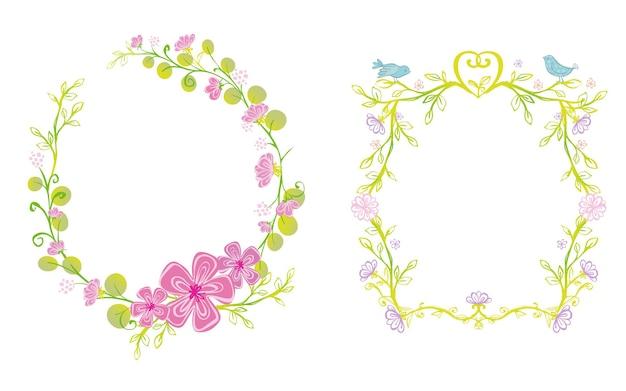 Flower and birds frame illustration with princess theme design