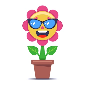 The flower blooms and sunbathes in the sun. plant in glasses. cute character on a white background. illustration