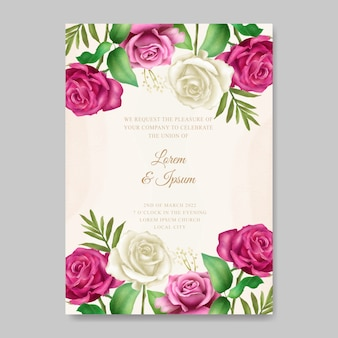 花の花の結婚式の招待カード