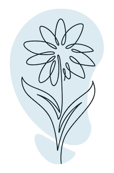 Flower in blossom with leaves and petals line art