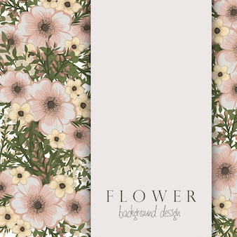 Цветочная граница с бежевыми цветами