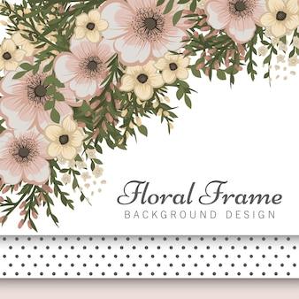 Flower boarder with beige flowers