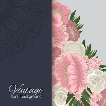 Flower border  dark floral frame