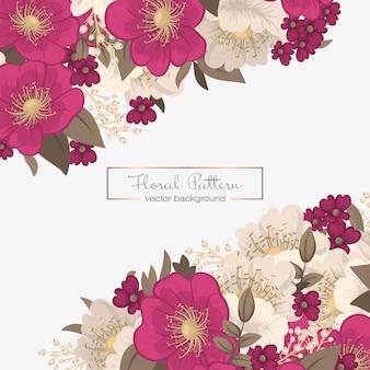 花のボーダーの描画-ホットピンクの花