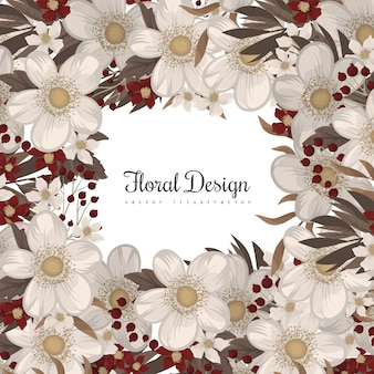 Flower border drawing  red frame