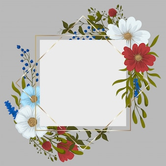 Flower border drawing - red frame