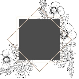 Flower border drawing white and black