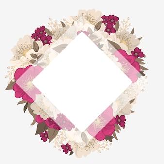 花のボーダー-ホットピンクの花