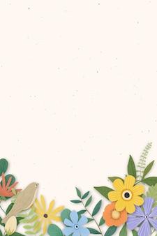 베이지 색 배경에 꽃 테두리