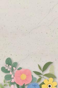 베이지색 배경에 꽃 테두리