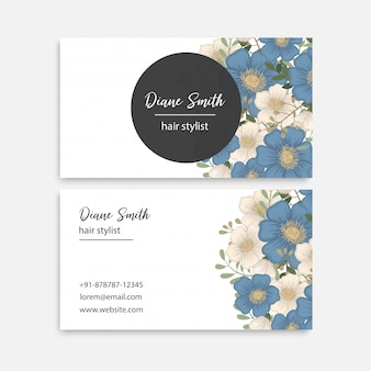Flower border template - blue flowers
