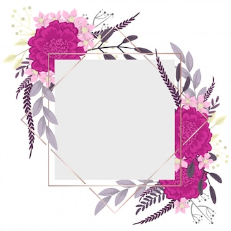 Flower border template  hot pink flowers