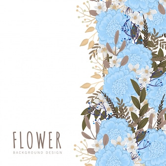Flower border template  light blue flowers
