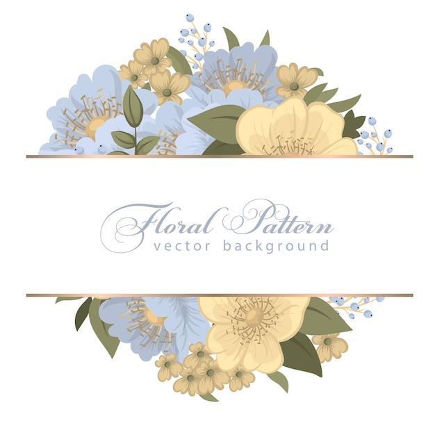 Flower border template - light blue flowers