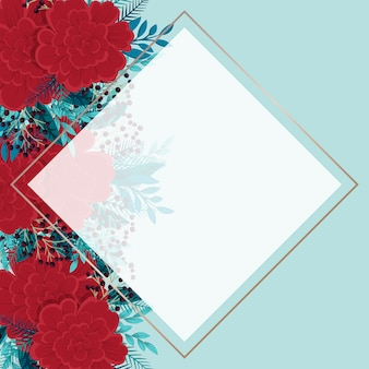 Flower border template  red and mint floral background