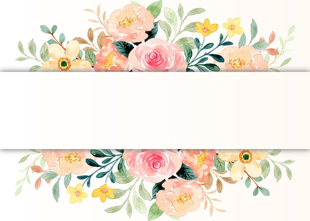 Flower border with watercolor