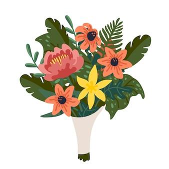 분홍색과 노란색 꽃과 녹색 가지의 꽃다발