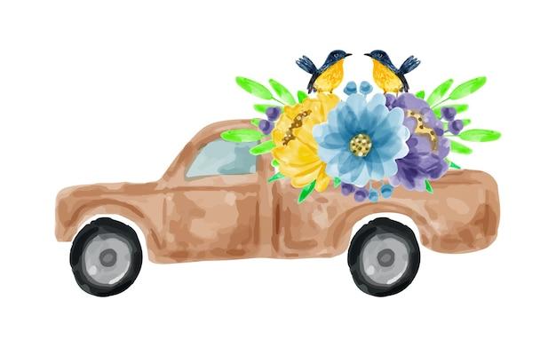 수채화로 꽃다발과 픽업 트럭