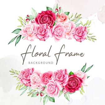 Flower bouquet frame watercolor collection