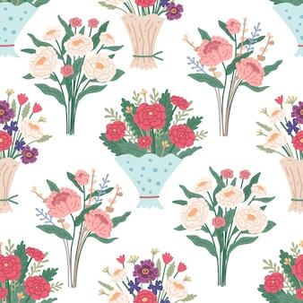 明るい春に咲く花とフラワーブーケシームレスパターン