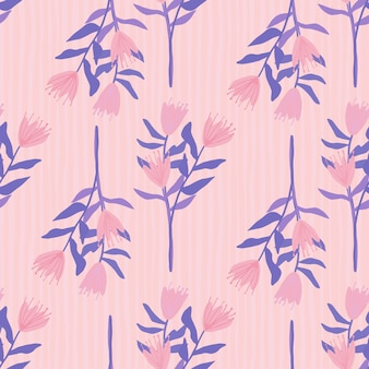 Flower bouquet silhouettes seamless pattern. hand drawn botanic elements and stripped background in pink and blue tones.