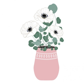 Flower bouquet vase illustration
