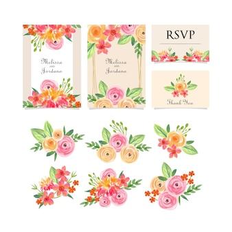 Цветочный букет акварель и шаблон приглашения