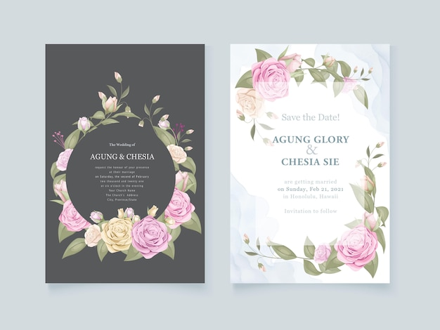 Flower bouquet wedding invitation set design