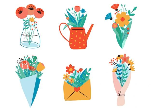 花の花束、クラフト紙、封筒、箱、リボン、手紙、水まき缶。フラットなデザイン。紙のカットスタイル。手描きのトレンディなセット。パステルカラー。すべての要素が分離されています