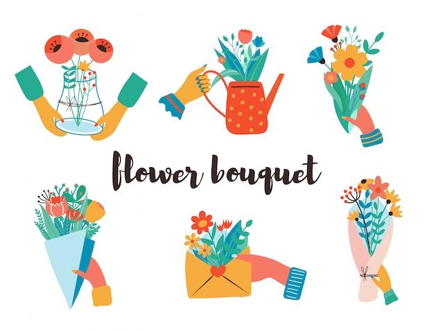 花束、クラフト紙、封筒、箱、リボン、手紙、水まき缶などを手に。フラットなデザイン。紙のカットスタイル。手描きのトレンディなセット。パステルカラー。すべての要素が分離されています